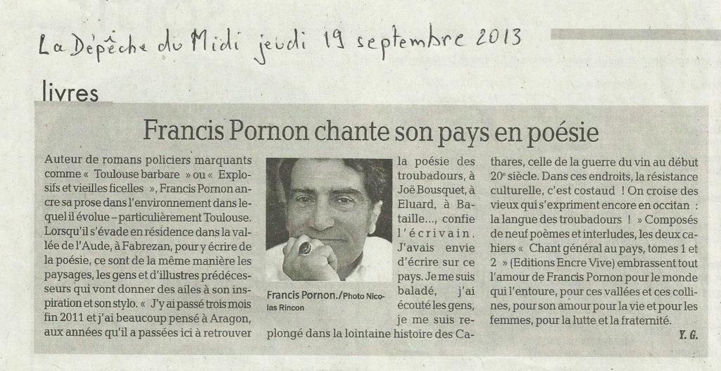 Article sur Le Chant général de Francis Pornon dans La Dépêche du midi, 19 septembre 2013