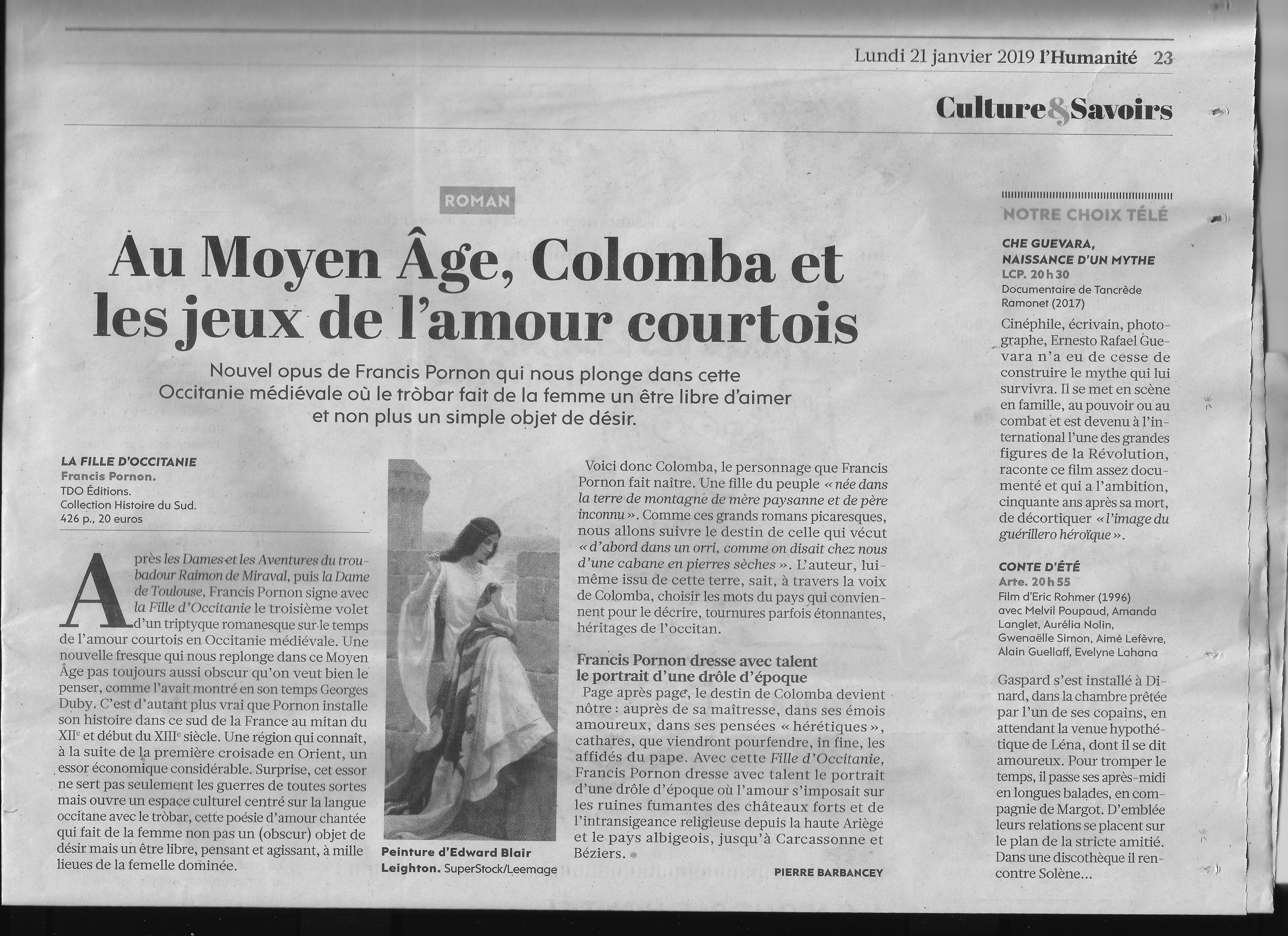 Article dans le journal L'Humanité sur Francis Pornon - 21/01/2019